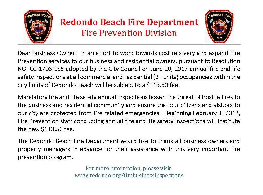 City of Redondo Beach - New Business Inspection Fee